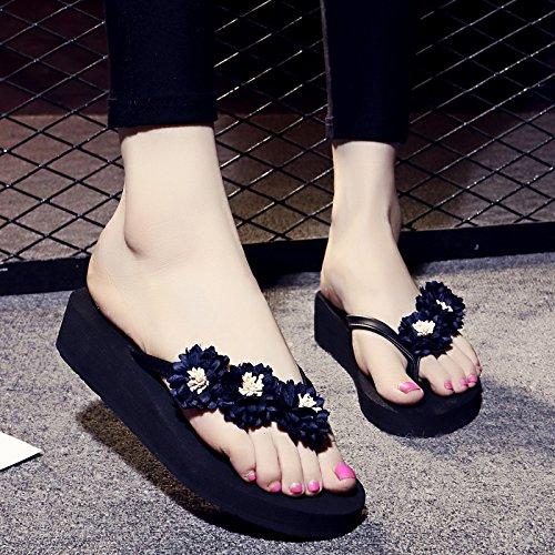 ZYUSHIZ Frau T-Hausschuhe Home Die Philippinen mit kühlen Hausschuhe rutschfeste Füße dick Clip Strand Schwarzes Gehäuse