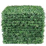 LACKINGONE 12 PCS 50x50 cm Toile de Fond de Mur d'herbe Artificielle, Haie de buis Faux, Panneaux Muraux Vivants de Verdure P