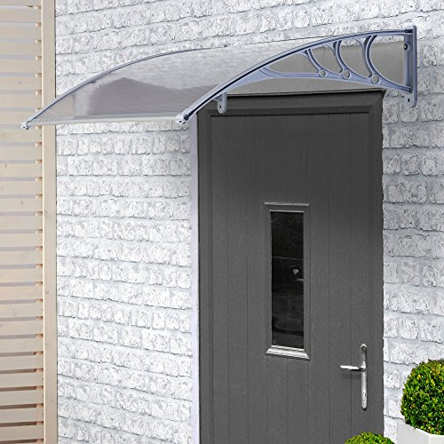 VonHaus Polycarbonate Door Canopy - Single Corrugated Panel Shelter for Patio & Porch Cover, Window Shade and Door Awning (L120 x W75 x H24 cm) Test