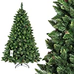 FairyTrees Artificiale Albero di Natale Pino, Verde Naturale, Materiale PVC, Vere pigne, incl. Supporto in Metallo, FT03