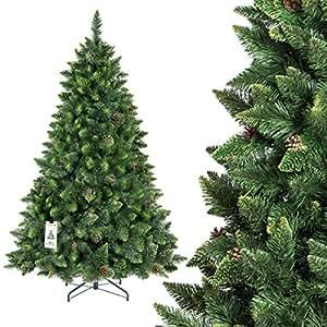 FAIRYTREES arbre sapin artificiel de Noêl PIN, naturel vert, matière PVC, pommes de pin vraies, socle en métal, 180cm, FT03-180