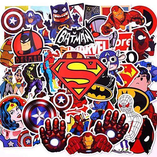 yunkanda 50 Pcs Neon Super Hero Avengers Aufkleber Für Gepäck Laptop Aufkleber Skateboard Aufkleber Bike Motorrad Kühlschrank Bombe JDM Aufkleber 50Pcs Super-Held A