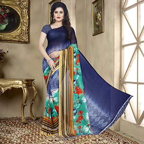 Kashvi Sarees Faux Georgette Printed Green Color With blouse piece ( 1353...