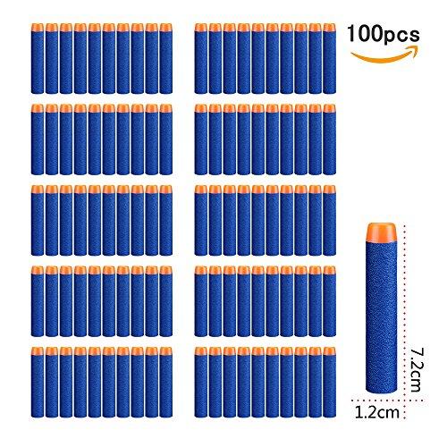 Nerf Darts ,StillCool 7.2cm 100 Stück Blue Foam Pfeile Patronen für N-Strike Elite Series Blasters Longshot Vulcan Spielzeug Stampede Minigun Recon scharfschützengewehr Zubehör(Ohne Bandolier )