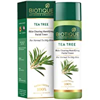 Biotique Tea Tree Skin Clearing Mattifying Facial Toner for Normal to Oily Skin Face Toner, 120ml | Treats Acne…