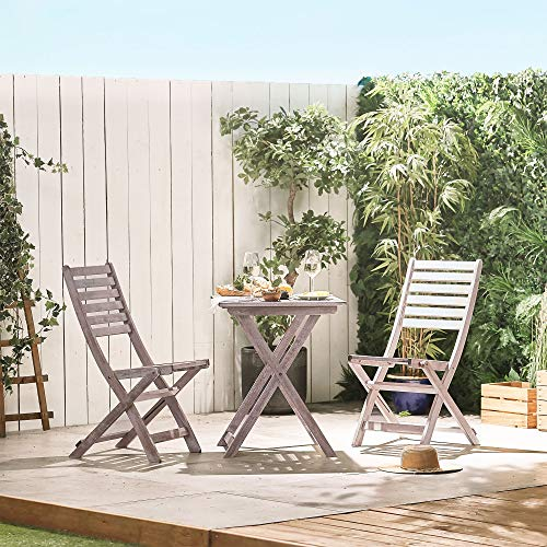 VonHaus Wooden Table and Chair Set - Grey Hardwood Bistro Set - Traditional Folding Table & 2 Chairs Garden Patio Furniture