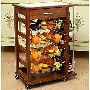 Carrello da cucina vesuvio in legno massello 15 mattonelle e portabottiglie noce - Mobile portafrutta ...