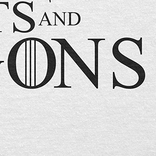 TEXLAB - Tits and Dragons - Herren Langarm T-Shirt Weiß