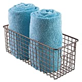 mDesign Badkorb zur Kosmetikaufbewahrung – für Shampoo, Lotion, Schwämme etc. – auch als Handtuch Aufbewahrung geeignet – bronzefarben