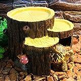 Non-brand Reptil Vivarium Terrario Decoración Cueva de Alimentación Cuenco Lagarto Gecko Agua Gusano Alimentador