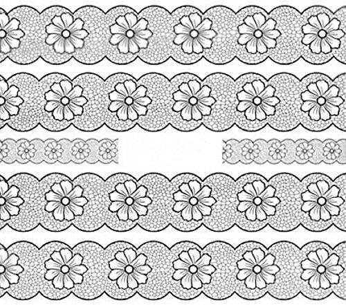 Nail art manucure stickers ongles décalcomanie scrapbooking: 5 bandes motifs fleurs résille