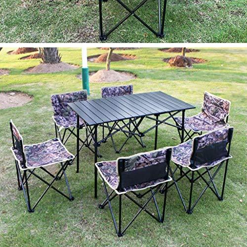 WXFO Tragbarer Klapptisch und Stuhlkombinationsset für den Außenbereich, Studentenheim-Picknickgrill, siebenteiliges Set Klappstuhl