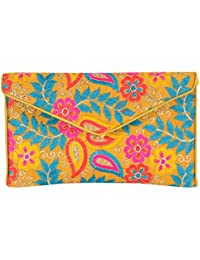 Shubhangi Women's Sling Bag (Jaipuri Embridered Handicraft Traditional Sling Bags,Multi-Coloured, R32024 Yellow)