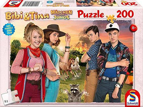 Schmidt Spiele Puzzle 56178 Bibi und Tina, Puzzle zum Film 3, Mädchen gegen Jungs, 200 (Zehn Jungs Jahren Kostüme Für)