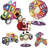 INTEY Magnetische Bausteine 66 Magnetische Konstruktionsbausteine Kleinkinder magnetische Bauklötze für Kinder ab 3 Jahren(Geburtstags oder Weihnachtsgeschenk)fördert die Kreativität und Konzentration