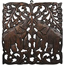 AeraVida Thailand Handcrafted Asian Elephant Hand Carved Teak Wood Wall Relief Panel Decocration Art (Brown)