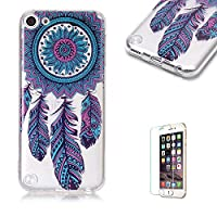 For iTouch 5/6 Case [with Free Screen Protector],Funyye Fashion lovely Lightweight Ultra Slim Anti Scratch Transparent Soft Gel Silicone TPU Bumper Protective Case Cover Shell for iTouch 5/6 - Blue Dreamcatcher