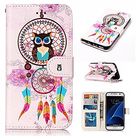 Ecoway Samsung Galaxy S7 colorful Varnish effect relief leather casePU leather case (Windset Owl), Samsung Galaxy S7 protective cover phone bracket function card slot design-Windset Owl