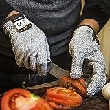 [Schnittschutzhandschuhe] FREETOO Hochleistung Schnittschutz Handschuhe Leicht 5 Handschutz Ebene, lebensmittelecht schnittfeste Handschuhe M - 4