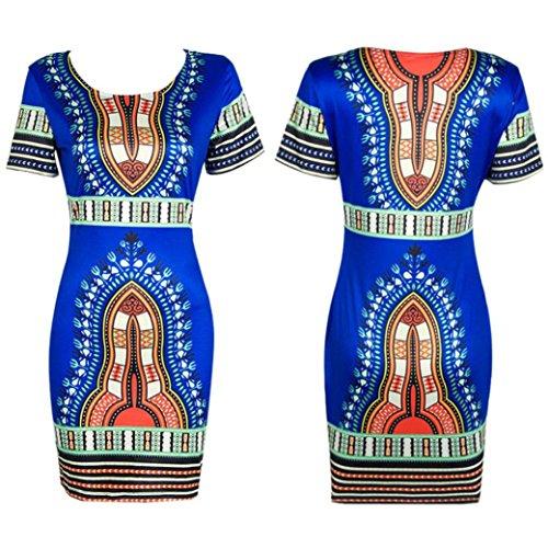 Traditionelle Dashiki (Hot! Damen Kleid Yesmile Frauen Traditionellen Afrikanischen Print Dashiki Bodycon Sexy Kurzarm Kleid Hip Paket Mini Kleid Vintage Print Folk Sommer Täglich Casual Kleid Mode Ball Kleid (M, Blau))