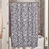InterDesign Abstract Duschvorhang aus Stoff,  183 x 183 cm, schwarz/weiß