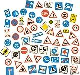 KL-Toys Magnetische Verkehrszeichen 64-tlg. / Material: Kunststoff, magnetische Rückseite / Maße: 7,2 x 7,2 cm BZW. Ø 6,4 cm / 3+