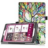 Telekom Tablet Puls Hülle - Fintie Premium Kunstleder Folio Schutzhülle Tasche Etui mit Standfunktion für Telekom Puls 8 Zoll Tablet, Liebesbaum