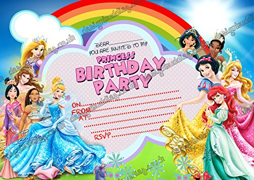 10x Disney Prinzessin Cinderella Geburtstag Party Einladungen mit 10Kostenlosen Umschlägen, 10