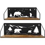 Amazon Brand – Umi Lot de 2étagères murales flottantes, avec découpes en Forme d'ours, Noir