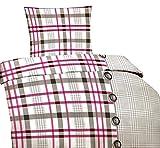 Leonado Vicenti 6 tlg. Microfaser Bettwäsche 135 x 200 cm Garnitur Sparset gestreift silber pink Spannbettlaken Modern mit Reißverschluss