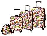Check in 4-teiliges Trolley-Kofferset Reisekoffer Hartschale FLOWER bunt, inkl. Kosmetikkoffer