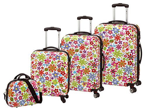 Check in 4-teiliges Trolley-Kofferset Reisekoffer Hartschale FLOWER bunt, inkl. Kosmetikkoffer