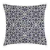DDOBY Funda de cojín Arabesque Throw Pillow, Estampado Floral marroquí con diseño Victoriano rococó Barroco, Funda de Almohada Decorativa Decorativa Cuadrada, Azul añil Crema bermellón