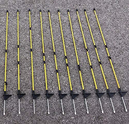 Callieway® Carbonfaser Zaunsteher/Zaunpfahl für z.B Hundezaun (120cm hoch (10er Packung))