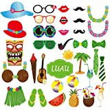 LUOEM Foto accessoires Foto requisiten Photo Booth Requisiten Hawaii Luau Sommer Strand Pool Party Supplies Hochzeit Geburtstag Baby Dusche Party Foto Booth Requisiten Kit 36pcs