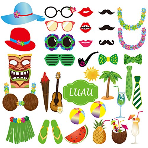 Kostüm Kit Fiesta - LUOEM Luau Photo Booth Props Hawaii unter dem Motto Party Supply DIY Kit Dress-up Kostüm Zubehör, Packung mit 36