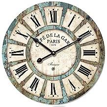 Orologio da parete Eruner 30,48 cm in legno, stile antico, per cucina, camera da letto o studio , Legno, #03, 16-in