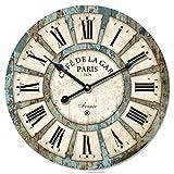 Reloj de pared Rústico Vintage, francés Eruner París Estilo Gran Reloj Londres País Non-ticking Reloj Esfera temporizador de madera para casa salón dormitorio oficina Cafe Bar Decor