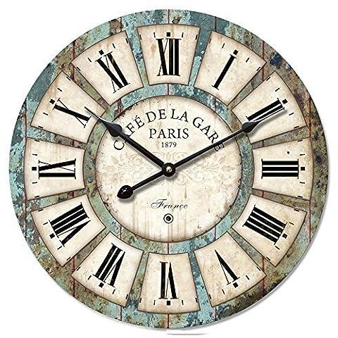 Vintage Horloge murale rustique, eruner style français Paris Grande Horloge London Country silencieuse en bois cadran horloge minuteur pour la maison Salon Chambre Bureau Café Bar Decor, Bois dense, #03,