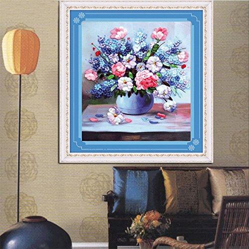 Chenxi Shop 42 x 45 cm 3d ruban de soie Pourpre Fleur kit de point de croix Broderie DIY faite main Décoration de la Maison