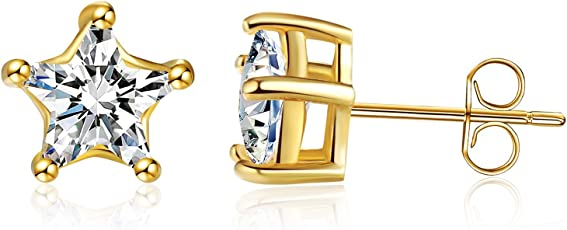 The Jewebox Solitaire Star Cut Cz American Diamond with Brass Gold Plated Ear Stud Pair Earring/ Rakhi Present for Men and Women