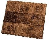HemingWeigh Area tappeto - 9 quadrotte soffici per i bambini - ideale per Nursery Decor, Baby Room, Texture vellutata, tappeto antiscivolo & durevole (marrone)