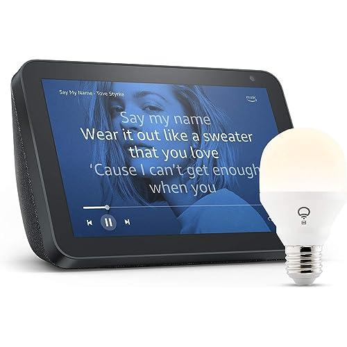 Echo Show 8, Tessuto antracite + lampadina intelligente LIFX White, compatibile con Alexa