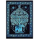 Janki Creation - Tapisserie Éléphant Arbre de vie - Affiche style hippie mandala bohème Multi coton indien - Taille 40 x 30 - Par Ethnic Decorative Poster