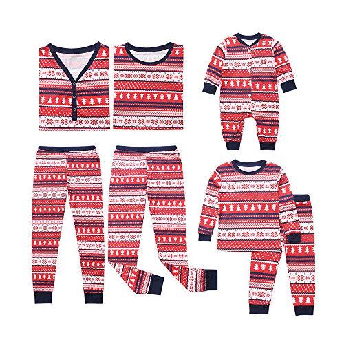 (Riou Weihnachten Set Baby Kleidung Pullover Pyjama Outfits Set Familie Frohe Weihnachts kostüme Santa Junge Mädchen Familien Pyjamas Set Snowflake Schlafanzug (100, Kinder))