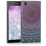 kwmobile Funda para Sony Xperia L1 - Carcasa de [TPU] para móvil y diseño de Sol hindú en [Azul Rosa Fucsia Transparente]