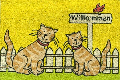 Akzente Kokos-Fußmatte Katze gelb 40x60