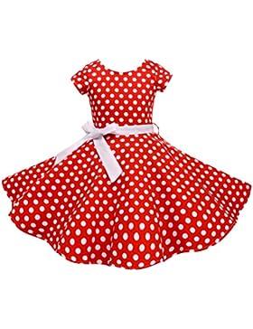 HBBMagic Kurzarm Rockabilly 50er Vintage Retro Kleid mädchen Pure Baumwolle punkte Petticoat Faltenrock mit Halskette...