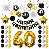 TUPARKA 40th Birthday Party Decorations, 40th Birthday Balloons, Paper Pom Poms, Hanging Swirls, Gold Foil Balloons Happy 40th Birthday Decorations para Hombres y Mujeres