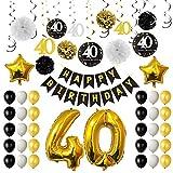 TUPARKA 40. Geburtstagsfeier-Dekorationen, 40. Geburtstags-Ballone, Papierpom-Poms, hängende Strudel, Goldfolien-Ballone Glückliche 40. Geburtstags-Dekorationen für Männer und Frauen